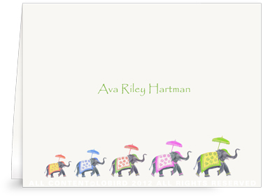 Festive Elephants Family Color Parade - Folded Note Cards
