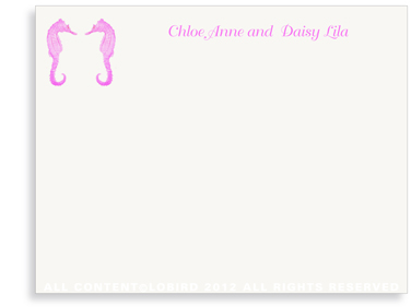 Twin Seahorses- Fuchsia - Flat Note Cards