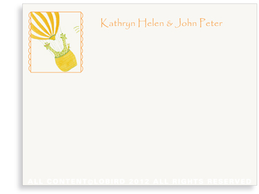Twin Giraffes Ballooning - Flat Note cards