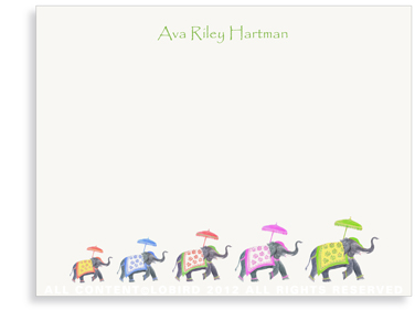 Festive Elephant Family Color parade - Flat Note Cards