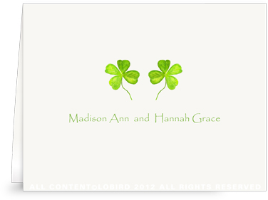 Twin 4 Leaf Clover - Folded Note Cards