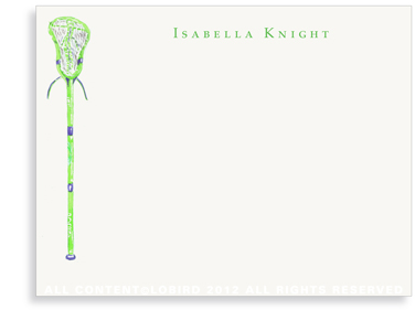 Green Lacrosse Stick - Flat Note Cards