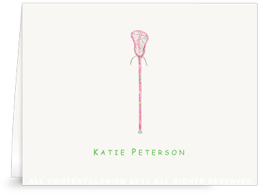 Pink Lacrosse Stick - Folded Note Cards
