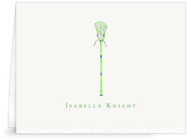 Green Lacrosse Stick - Folded Note Cards