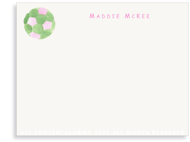 Pink - Green Soccer Ball - Flat Note cards