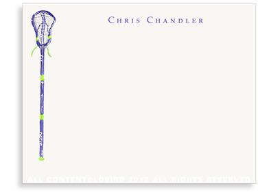 Purple Lacrosse Stick - Flat Note Cards
