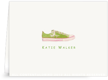 Green Sneaker- Folded Note Cards