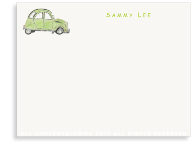 French Citroen - Green - Flat Note Cards