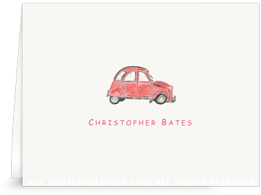 French Village Car - Red- Folded Note Cards