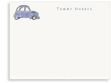 French Citroen - Blue - Flat Note cards