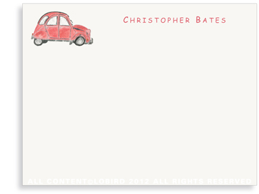 French Citroen - Red - Flat Note Cards
