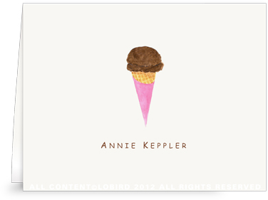 Chocolate Ice Cream Cone - Folded Note Cards