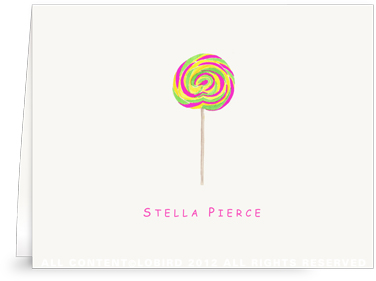 Swirl Lollipop - Green - Ostrich Pink - Folded Note Cards