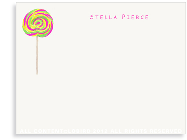 Swirl Lollipop - Green - Ostrich Pink - Flat Note Cards