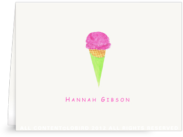 Berry Ice Cream Cone - Folded Note Cards