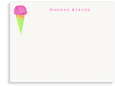 Berry Ice Cream Cone - Flat Note cards