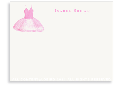 Rose Pink Tutu - Flat Note cards