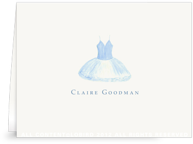 Blue Bird Tutu - Folded Note Cards