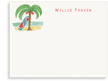Surfboard with Palm - Kids- Flat Note Cards