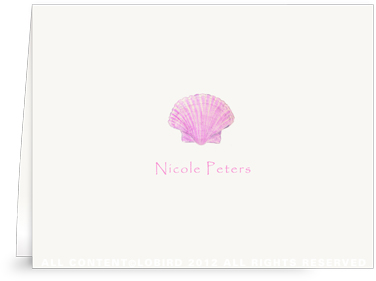 Pink Scallop Sea Shell -Kids- Folded Note Cards