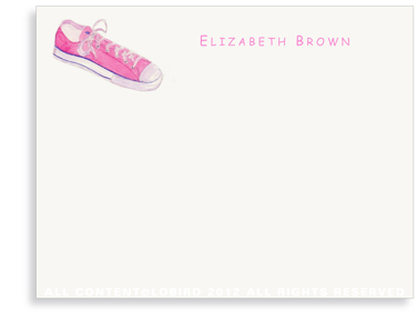 Pink Sneaker - Flat Note cards