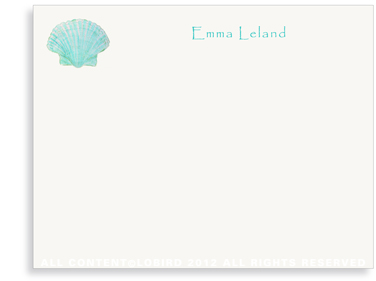 Aqua Green Scallop Sea Shell - Kids - Flat Note Cards