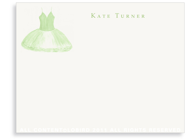 Green Tutu - Flat Note cards