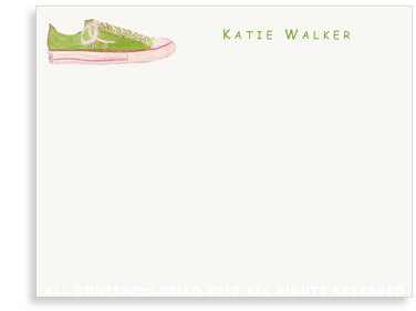 Green Sneaker - Flat Note cards