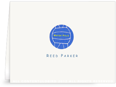 Blue Water Polo Ball - Folded Note Cards