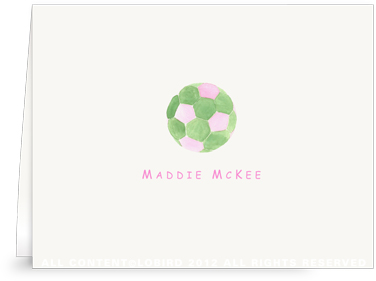Pink & Green Soccer Ball - Folded Note Cards