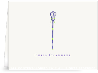 Purple Lacrosse Stick - Folded Note Cards