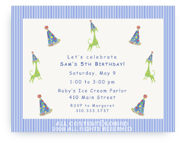 Green Dog Yellow Spots with Party Hat - Invitations