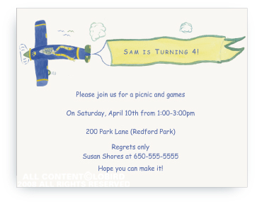 Lion Cub Flying Plane - Invitations