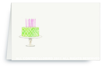 Beaded Birthday Cake - Spring Green - Place cards