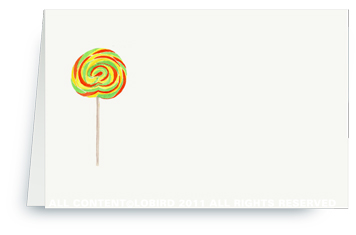 Swirl Lollipop - Green/Orange - Place cards