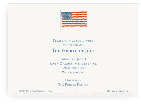 American Flag- Landscape Invitation no border