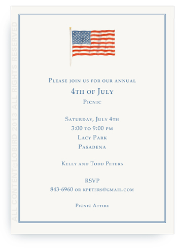 American Flag - INVITATION WITH BORDER - PORTRAIT LAYOUT