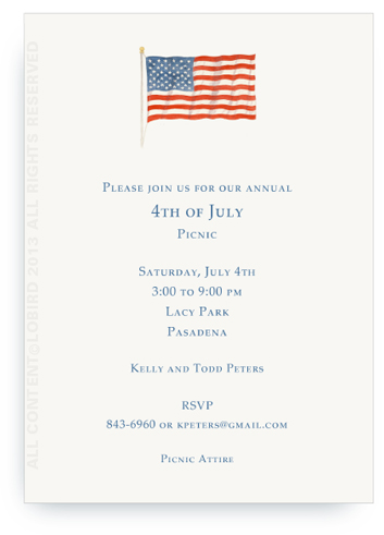 American Flag -Portrait Invitation no border