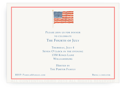 American Flag - Landscape Invitation with Border