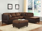 2 Piece Set (Sofa + Chaise) - Chocolate Microfiber by Homelegance Furniture Comfort Living Collection 165-9909CH*