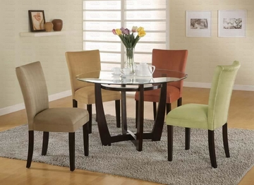 5 Piece Dining Set With Table, Glass Top and 4 Side Chairs by Coaster Fine Furniture Cross Collection 635-101490-BDF1-5D