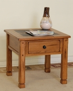 "End Table With Slate Top 25""X25""X24""H by Sunny Designs Furniture Sedona Collection 441-3144RO-2"
