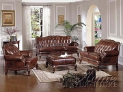 4 Piece Brown Leather Sofa Set by ACME Furniture 491-5945-BDF1-4