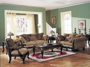 6 Piece Chenille Sofa Set With Sofa, Loveseat, Chair and Coffee Table and 2 End Tables by Acme Furniture Bordeaux Collection 491-5600-BDF1-6