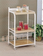 Kitchen Carts White Utility Serving Cart with 3 Laminated Shelves & Wire Basket Storage by Coaster 635-2515