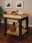 Black Butcher Block Kitchen Island by Powell Furniture Color Story Collection 173-502-416