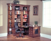 4 Piece Library With Desk and Three Bookcases by Parker House Furniture Davinci Collection 362-DAV-490-BDF1-4