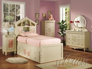 Twin Bed With Bookcase Headboard, Footboard and Rails by Acme Furniture Doll House Collection 491-2210T