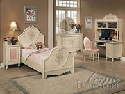 Twin Bed With Headboard, Footboard and Rails by Acme Furniture Doll House Collection 491-2665T