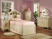 4 Piece Twin Bedroom Suite With Headboard, Nightstand, Dresser and Mirror by Acme Furniture Doll House Collection 491-2210T-BDF1-4